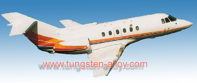 Tungsten alloy ballast for aircraft