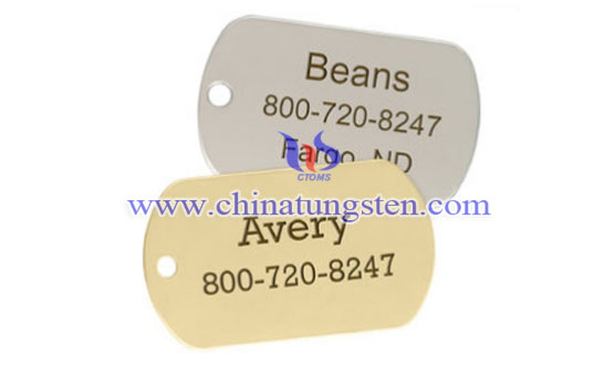 rectangle tungsten dog ID tag image
