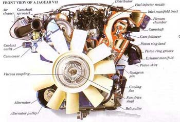 Modern Engines-Front View of a Jaguar V12